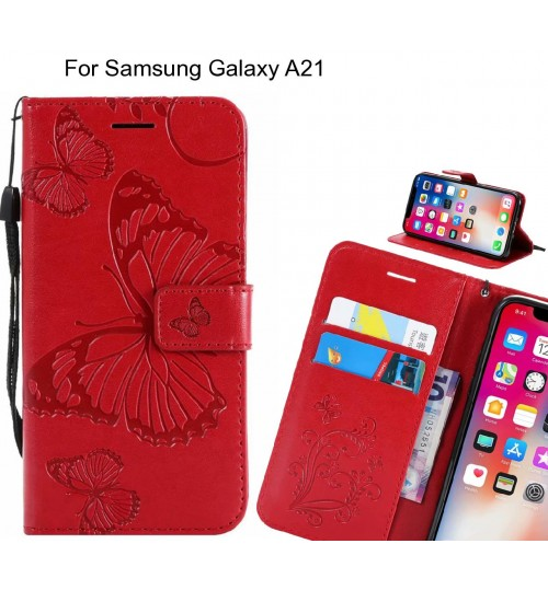 Samsung Galaxy A21 case Embossed Butterfly Wallet Leather Case