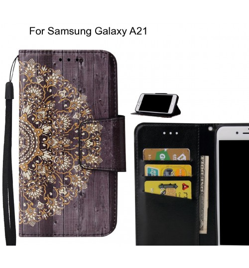 Samsung Galaxy A21 Case wallet fine leather case printed