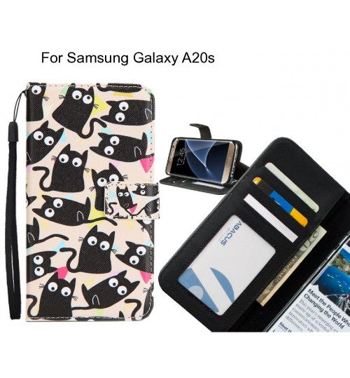 Samsung Galaxy A20s case 3 card leather wallet case printed ID