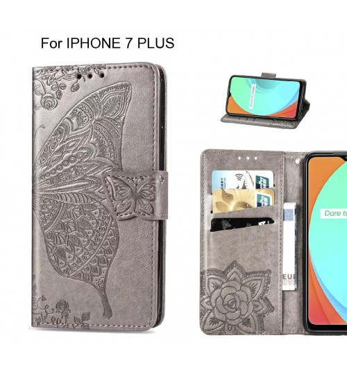 IPHONE 7 PLUS case Embossed Butterfly Wallet Leather Case