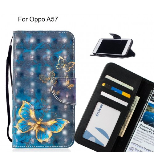 Oppo A57 Case Leather Wallet Case 3D Pattern Printed