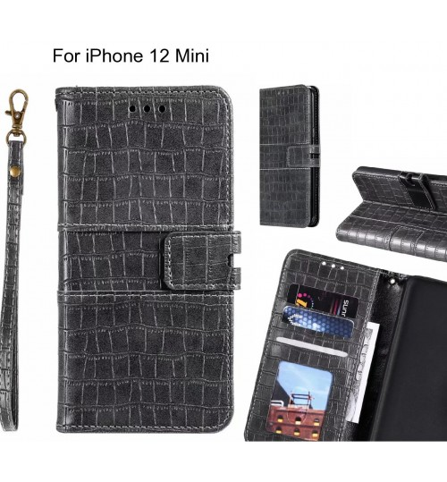 iPhone 12 Mini case croco wallet Leather case