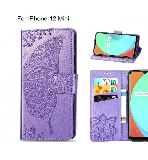 iPhone 12 Mini case Embossed Butterfly Wallet Leather Case