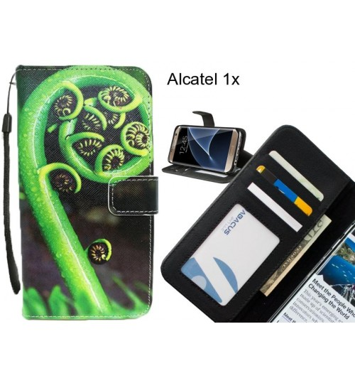 Alcatel 1x case 3 card leather wallet case printed ID