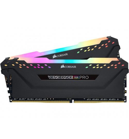 CORSAIR CMW64GX4M2E3200C16 DDR4 3200MHz 64GB 2x32GB DIMM Unbuffered XMP 2.0 VENGEANCE RGB PRO Black Heatspreader RGB LED 1.35V