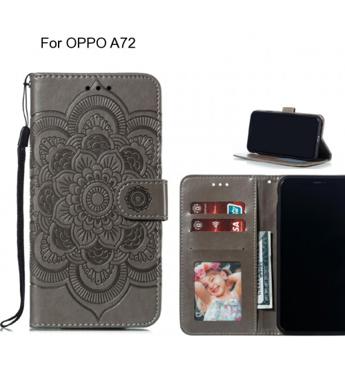 OPPO A72 case leather wallet case embossed pattern
