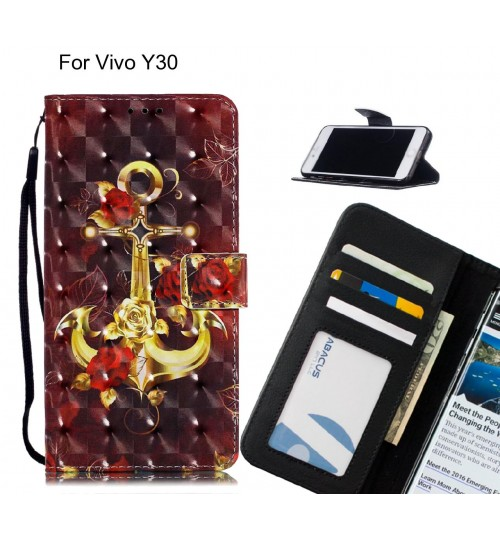 Vivo Y30 Case Leather Wallet Case 3D Pattern Printed