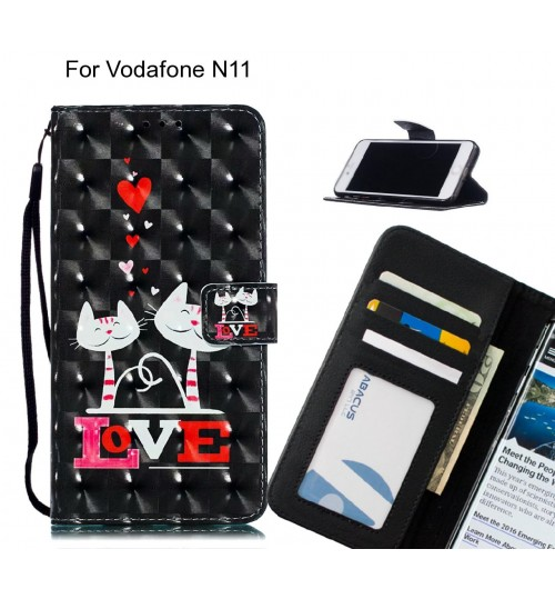 Vodafone N11 Case Leather Wallet Case 3D Pattern Printed
