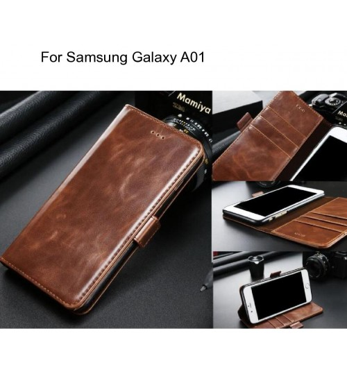 Samsung Galaxy A01 case executive leather wallet case