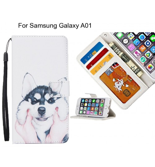 Samsung Galaxy A01 case 3 card leather wallet case printed ID
