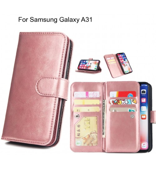 Samsung Galaxy A31 Case triple wallet leather case 9 card slots