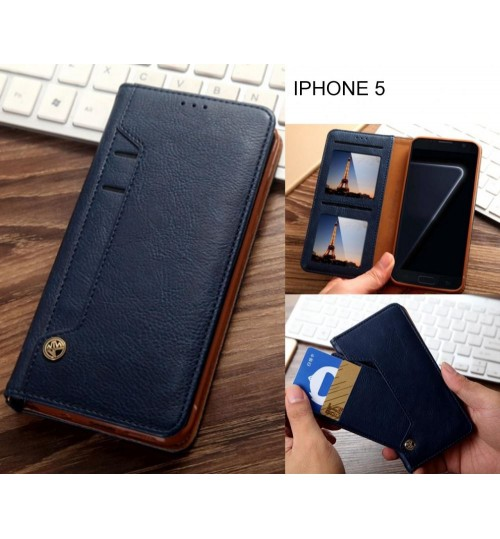 IPHONE 5 case flip leather wallet case 6 card slots