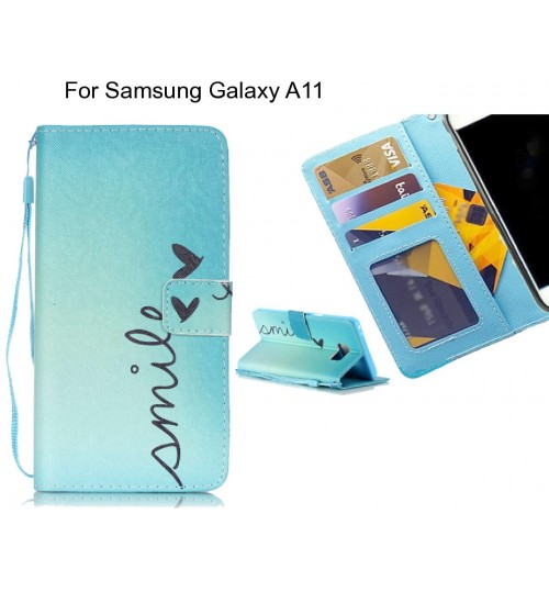 Samsung Galaxy A11 case 3 card leather wallet case printed ID