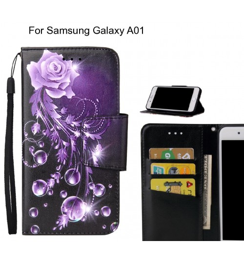 Samsung Galaxy A01 Case wallet fine leather case printed