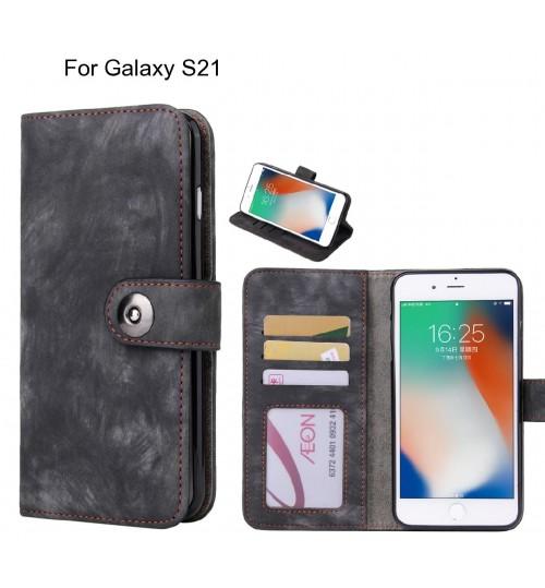 Galaxy S21 case retro leather wallet case