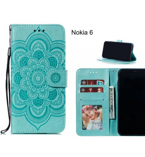 Nokia 6 case leather wallet case embossed pattern