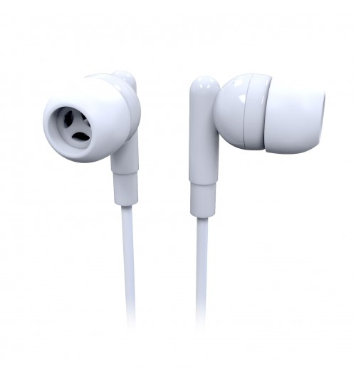 LASER EARBUD HEADPHONE WITH MIC - WHITE