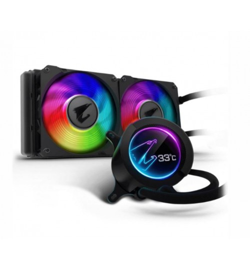 Gigabyte Aorus LIQUID COOLER 240 with 60x60mm circular full color LCD Display RGB Fusion 2.0 Dual 120mm ARGB Fans