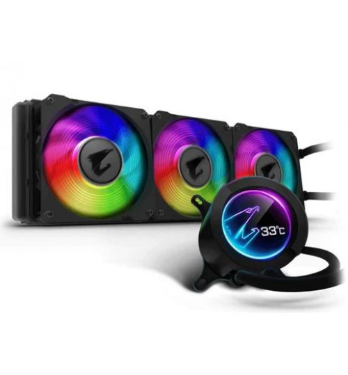 AORUS LIQUID COOLER 360 All-in-one Liquid Cooler with Circular LCD Display RGB Fusion 2.0 Triple 120mm ARGB Fans