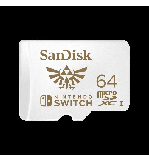 SANDISK AND NINTENDO COBRANDED MICROSDXC SQXAT 64GB U3 C10 UHS-1 100MB/S R 60MB/S W 4X6 LIFETIME LIMITED