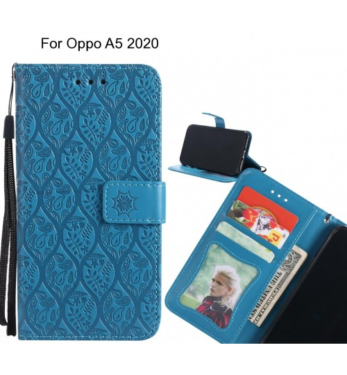 Oppo A5 2020 Case Leather Wallet Case embossed sunflower pattern
