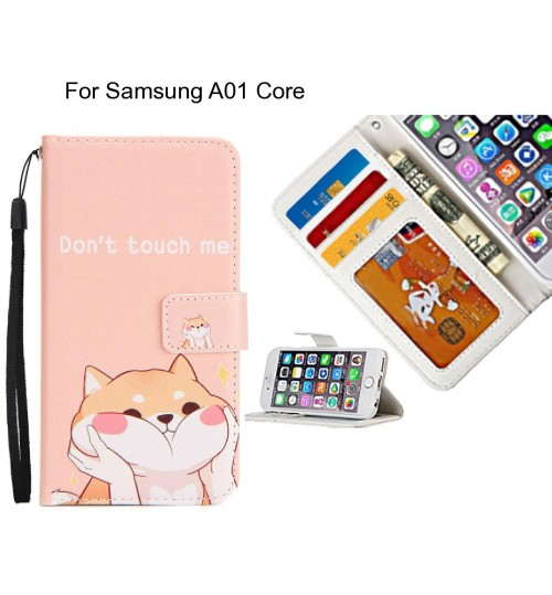 Samsung A01 Core case 3 card leather wallet case printed ID