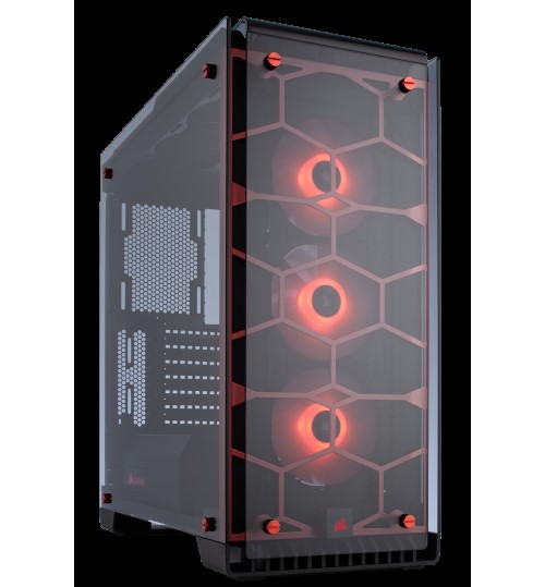 CORSAIR CRYSTAL SERIES 570X RGB FULLY TEMPERED GLASS GAMING ATX MID-TOWER CASE - WITH 3 X SP120 RGB FAN BUILT-IN LED CONTROLLER - RED