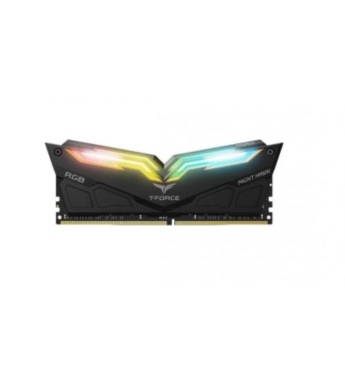 TEAM T-FORCE NIGHT HAWK 16GB (2x8GB) DDR4-3600MHZ RGB GAMING MEMORY- BLACK