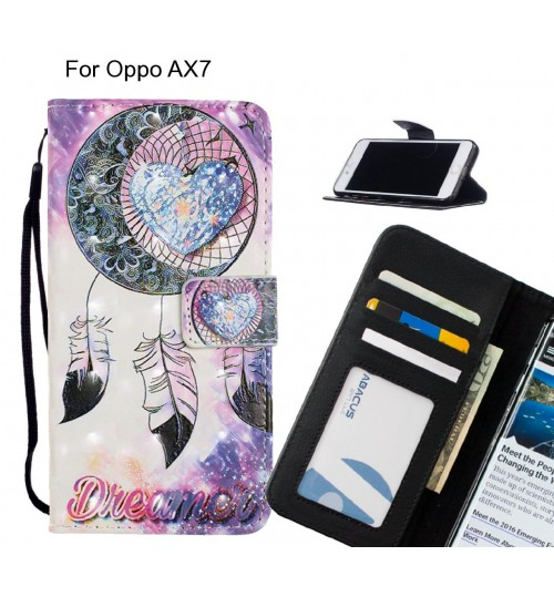 Oppo AX7 Case Leather Wallet Case 3D Pattern Printed