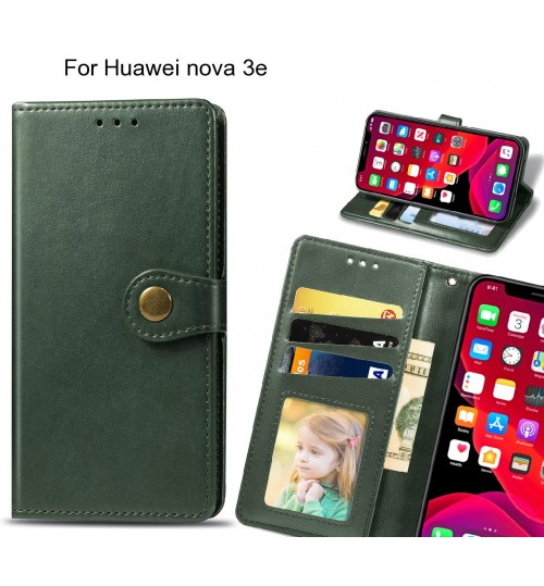 Huawei nova 3e Case Premium Leather ID Wallet Case