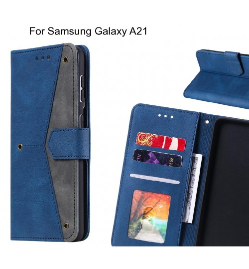 Samsung Galaxy A21 Case Wallet Denim Leather Case Cover