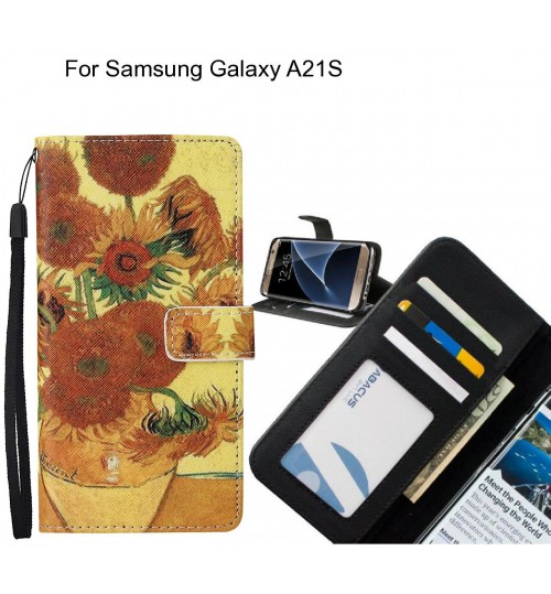 Samsung Galaxy A21S case leather wallet case van gogh painting
