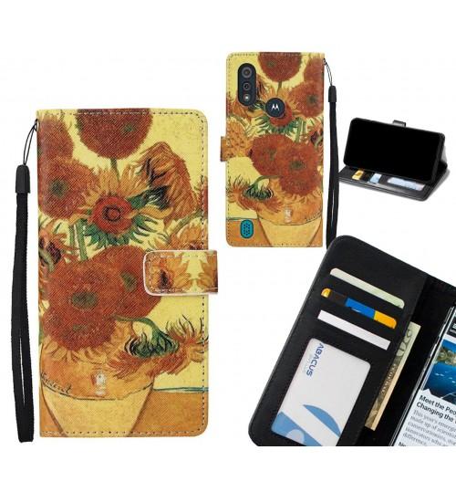 MOTO E6s case leather wallet case van gogh painting