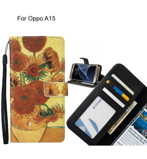 Oppo A15 case leather wallet case van gogh painting