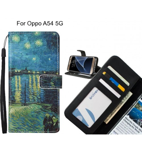 Oppo A54 5G case leather wallet case van gogh painting