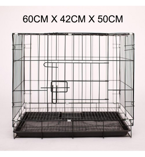 Dog Cage - 60cm Wide Collapsible Metal Pet Cage Black