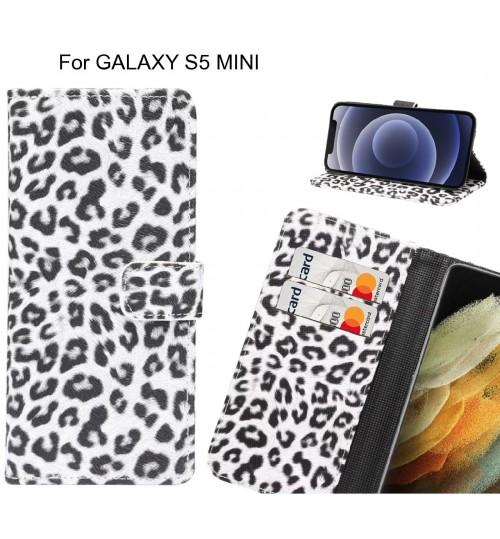 GALAXY S5 MINI Case  Leopard Leather Flip Wallet Case