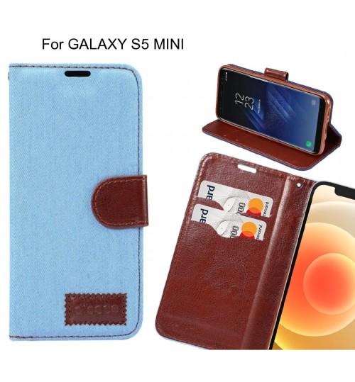 GALAXY S5 MINI Case Wallet Case Denim Leather Case