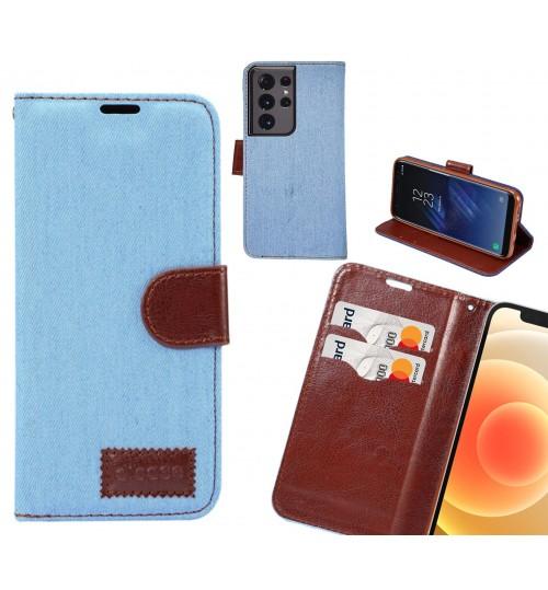 Galaxy S21 Ultra Case Wallet Case Denim Leather Case