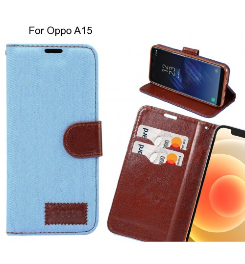 Oppo A15 Case Wallet Case Denim Leather Case