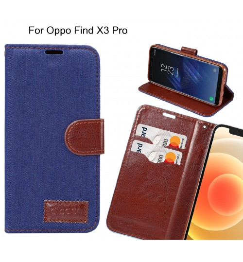 Oppo Find X3 Pro Case Wallet Case Denim Leather Case