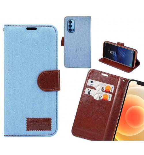 Oppo Reno 4 Pro Case Wallet Case Denim Leather Case