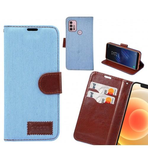Moto G30 Case Wallet Case Denim Leather Case