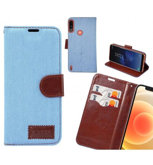 Moto E7 Power Case Wallet Case Denim Leather Case