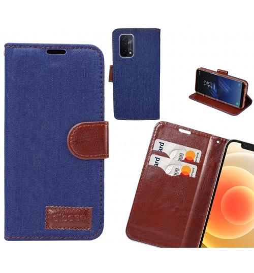 Oppo A54 5G Case Wallet Case Denim Leather Case