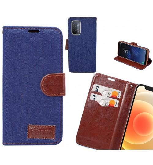 Oppo A74 5G Case Wallet Case Denim Leather Case