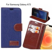 Samsung Galaxy A72 Case Wallet Case Denim Leather Case