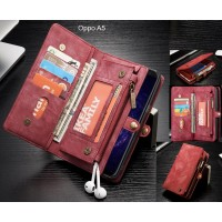 Oppo A5 Case Retro leather case multi cards cash pocket & zip