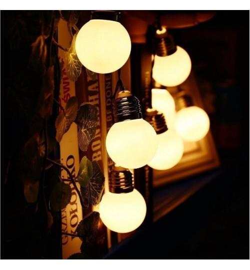 10 LED Solar Light Retro Bulb String Lights 1.5M