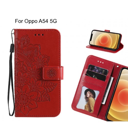 Oppo A54 5G Case Embossed Floral Leather Wallet case